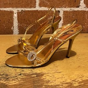 Gorgeous gold strappy heels by wild rose - size 8